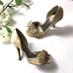 "Adrienne Maloof ""Yalissa"" Champagne Satin Heels"